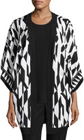 Misook Graphic-Print Knit Jacket, Black/White