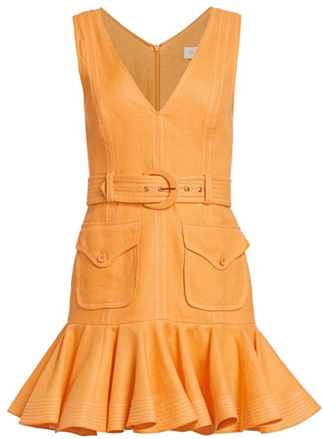 Zimmermann Super 8 Belted Linen Mini Flounce Dress
