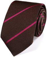 Charles Tyrwhitt Brown Wool Mix Stripe Luxury Tie