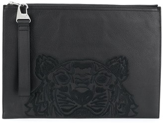 Kenzo A4 Tiger embroidered clutch bag