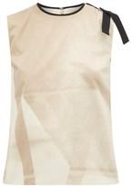 Roksanda Aoba Abstract-print Bow-applique Satin Top - Womens - Beige Multi