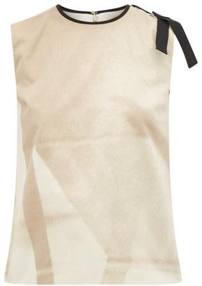 Roksanda Aoba Abstract-print Bow-applique Satin Top - Beige Multi