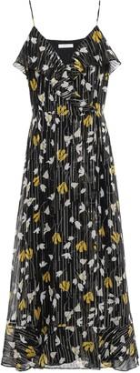 Joie Kenny Ruffled Metallic Floral-print Silk-blend Georgette Maxi Dress