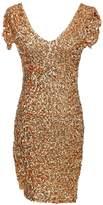 Anna-Kaci Womens Short Sleeve Sequin V Neck Bodycon Mini Club Dress