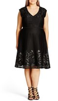City Chic Plus Size Women's 'Show Stopper' Mesh Overlay Fit & Flare Dress