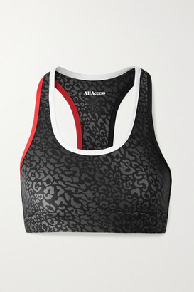 All Access Front Row Leopard-print Stretch Sports Bra - Gray