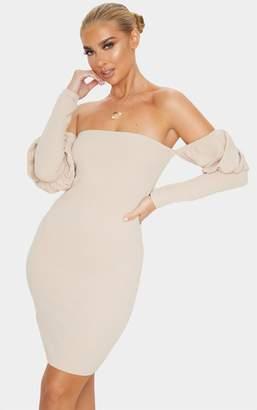 PrettyLittleThing Black Bardot Puff Sleeve Bodycon Dress