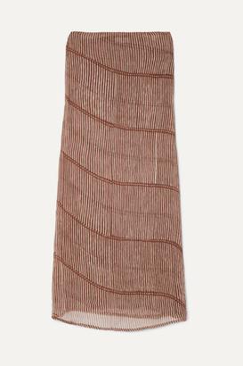 CLOE CASSANDRO + Net Sustain Billie Convertible Striped Silk-crepon Dress - Neutral