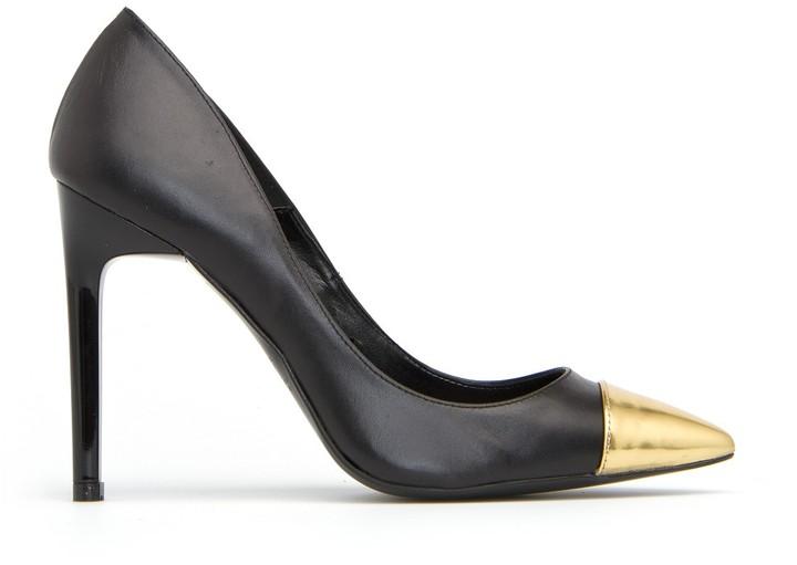 MANGO Contrast toe cap pumps