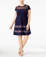 NY Collection Plus Size Lace-Panel Fit & Flare Dress