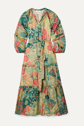 CHUFY Huayna Tiered Floral-print Cotton And Silk-blend Maxi Dress - Green