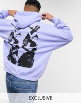 Reclaimed Vintage inspired oversized hoodie with greek mythology print in lilac