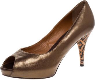 Bronze Peep Toe Heels | Shop the world