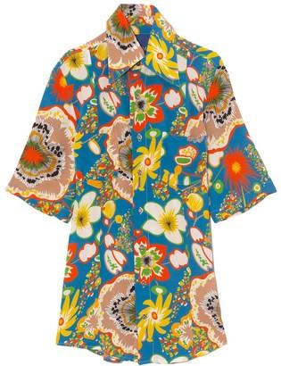 Simon Miller Bandera Short Sleeve Shirt in Blue Floral Print