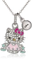 "Hello Kitty Zodiac"" Sterling Pave Crystal Enamel Full Body Libra Pendant Necklace, 18"""