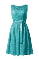 DaisyFormals® Short Lace Bridesmaid Dress Vintage Scoop Lace Party Dress(BM43225)- Tiffany Blue