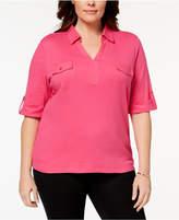 Karen Scott Plus Size Cotton Polo-Collar Top, Created for Macy's