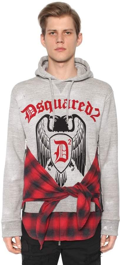 DSQUARED2 Hooded Cotton Jersey Sweatshirt W/ Shirt