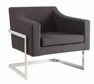 Orren Ellis Contemporary Grey And Chrome Accent Chair Orren Ellis