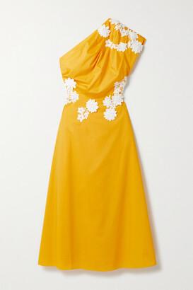 Lela Rose One-shoulder Appliqued Cotton-poplin Midi Dress - Yellow