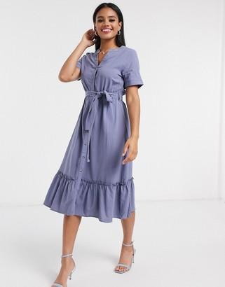 Qed London tie waist midi dress in cornflower blue