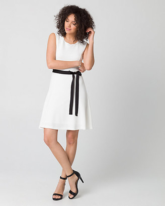 Le Château Textured Knit Crew Neck Belted Dress