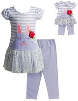 Dollie & Me Girls 4-14 Bunny Drop-Waist Dress & Capri Leggings Set