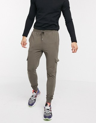 ASOS DESIGN super skinny cargo joggers in khaki