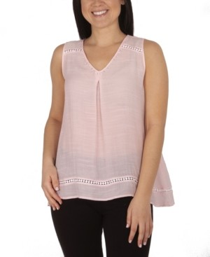 NY Collection Women's Plus Size Sleeveless Beaded Blouse