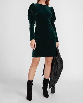 Express Velvet Puff Sleeve Sheath Dress