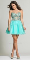 Dave and Johnny Flowered Lace Illusion Homecoming Dress