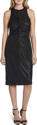 Tahari ASL Women's Sleeveless Knot Front Foil Knit Midi Dress