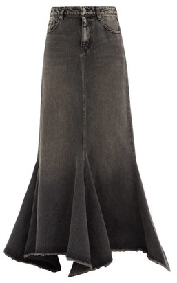 Balenciaga Flared Denim Maxi Skirt - Black