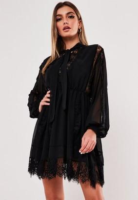 Missguided Black Lace Trim Chiffon Mini Dress