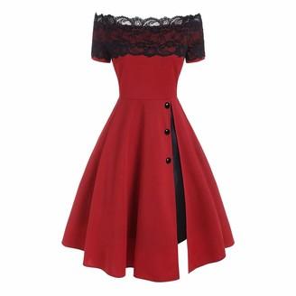 Festiday Dress Festiday Lace Prom Dresses for Girl Elegant 1950s High Waist Vintage Off The Shoulder Dress