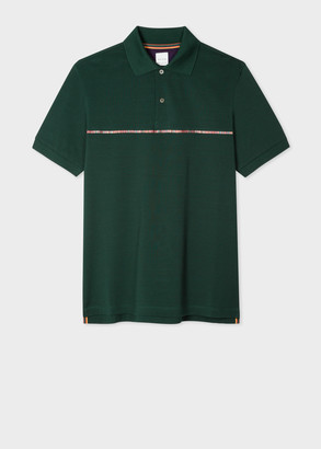 Paul Smith Men's Dark Green Cotton-Pique Polo Shirt with 'Signature Stripe' Trim