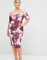 Asos SALON Midi Pencil Dress In Floral Print