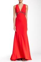 Carmen Marc Valvo Sleeveless V-Neck Beaded Waist Gown