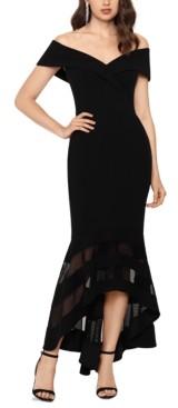 Xscape Evenings Petite Illusion-Hem Off-The-Shoulder Gown