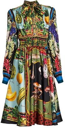 Dolce & Gabbana Multi-Fruit Printed Silk Shirtdress