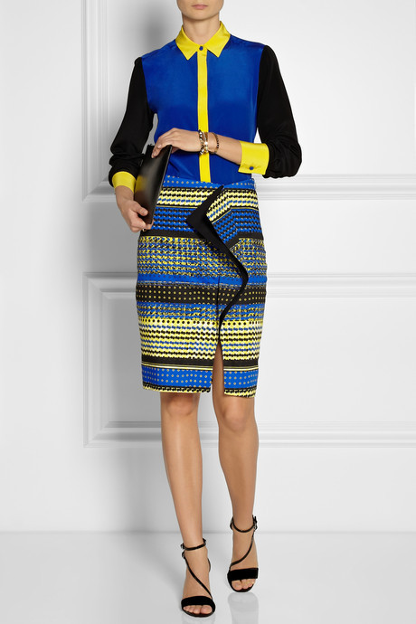 Prabal Gurung Ruffled printed cotton-blend skirt