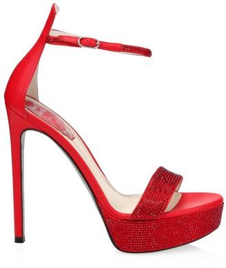 Rene Caovilla Celebrita Crystal-Embellished Satin Platform Sandals