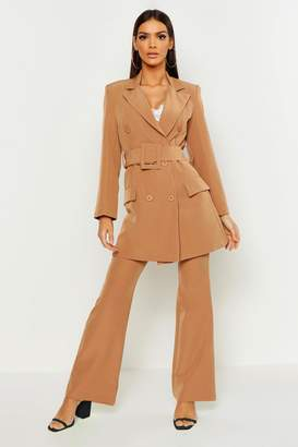 boohoo Longline Double Breasted Belted Blazer