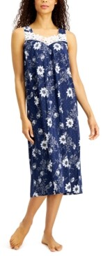 Charter Club Floral-Print Lace-Trim Knit Nightgown, Created for Macy's
