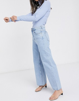 Weekday Ace wide leg organic cotton in summer blue