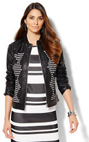 New York & Co. Braided Faux-Leather Jacket - Black