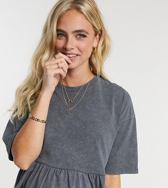 ASOS DESIGN Maternity casual smock top in washed charcoal