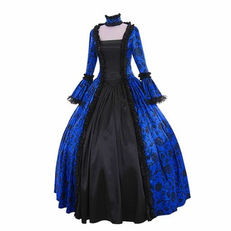 YBWZH Women's Dress Plus Size Dress Women Medieval Gothic Retro Maxi Dress Fall Winter Medieval Floral Print Ball Lace Gowns Dress Cocktail Evening Swing Party Dress (Hot Pink 5XL)