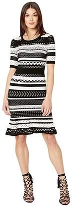 Milly Pointelle Mermaid Dress (Black/White) Women's Clothing