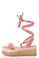 Quiz Pink Lace Up Cork Flatform Sandals